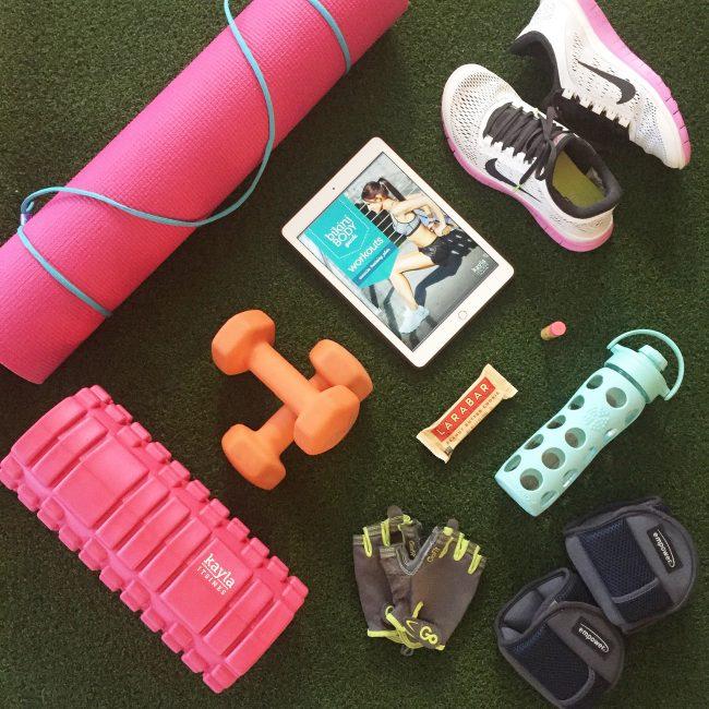 At-home gym essentials on joyfetti.com_flat lay
