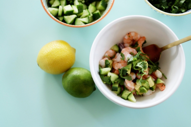 Bikini Meals_Shrimp Ceviche on bikinimeals.com, aerial shot