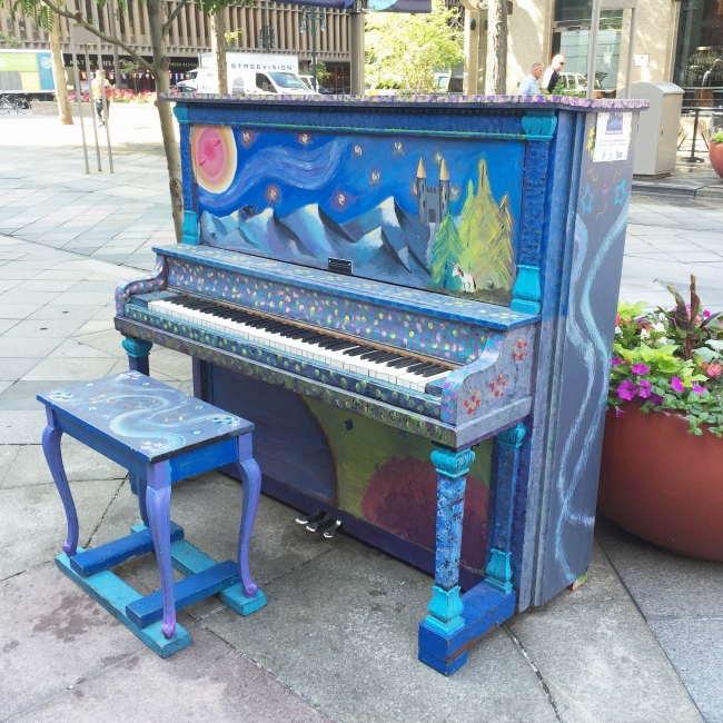 Awesome little pianos all over 16th Street in Denver! See more at joyfetti.com #JOYFETTI