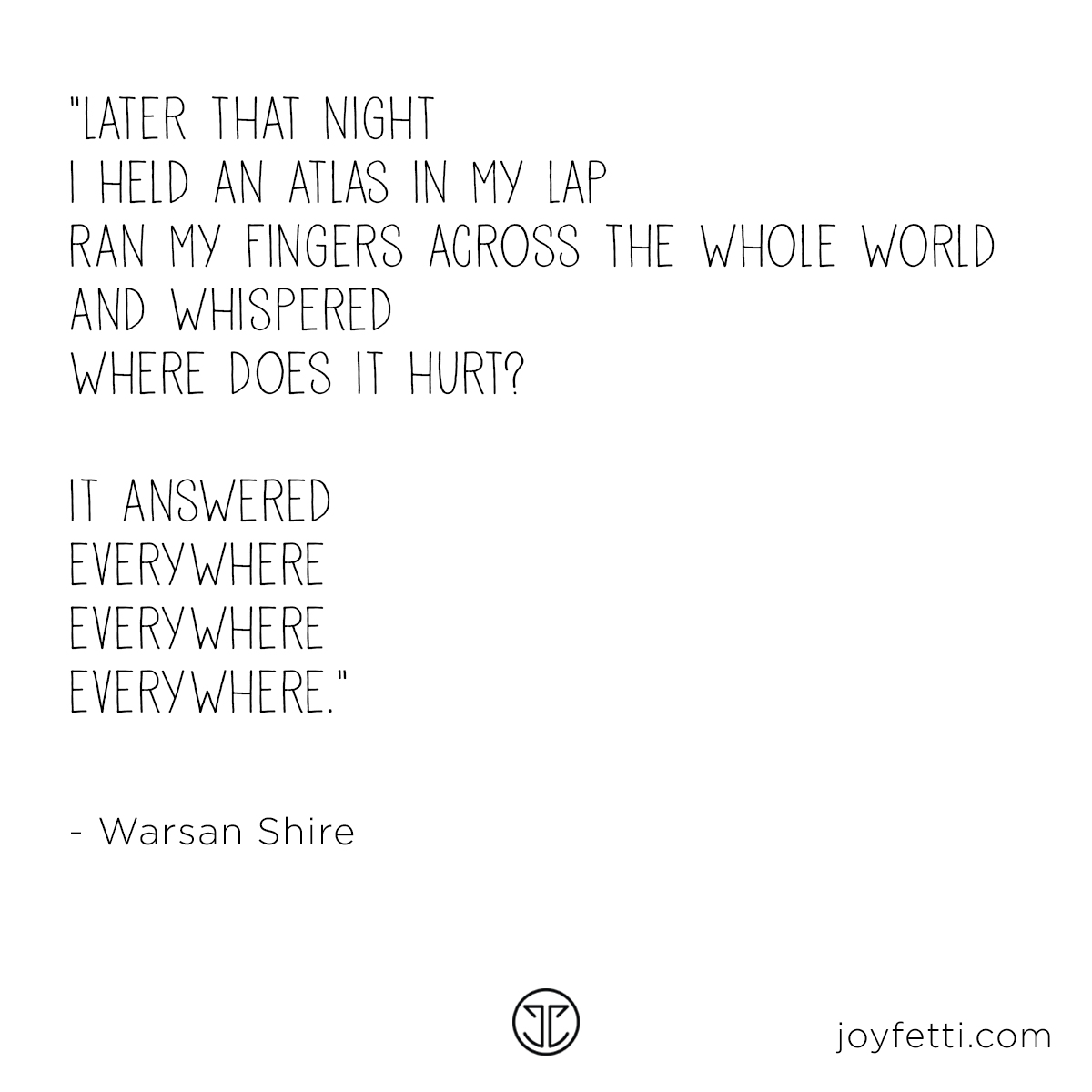 Atlas, where does it hurt quote by Warsan Shire on JOYFETTI
