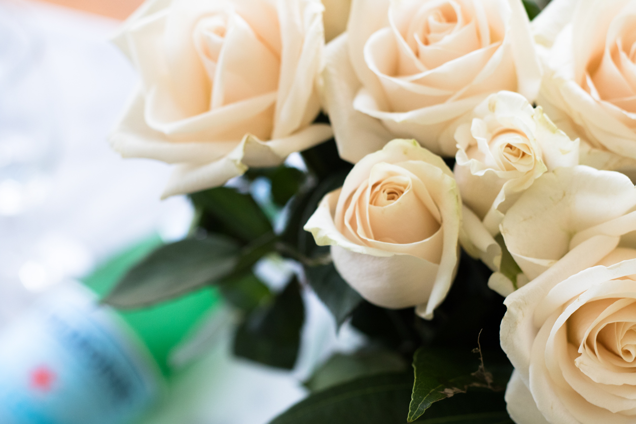 How to drink more water_Pellegrino, champ glass, white roses_joyfetti.com